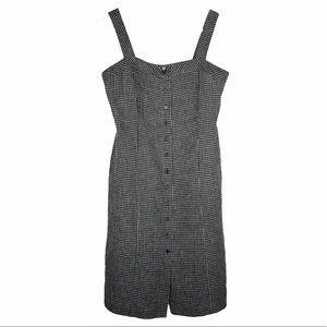 Ann Taylor Loft black gingham 100% linen dress